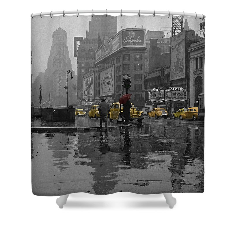 Times Square Shower Curtain featuring the photograph Yellow Cabs New York by Andrew Fare