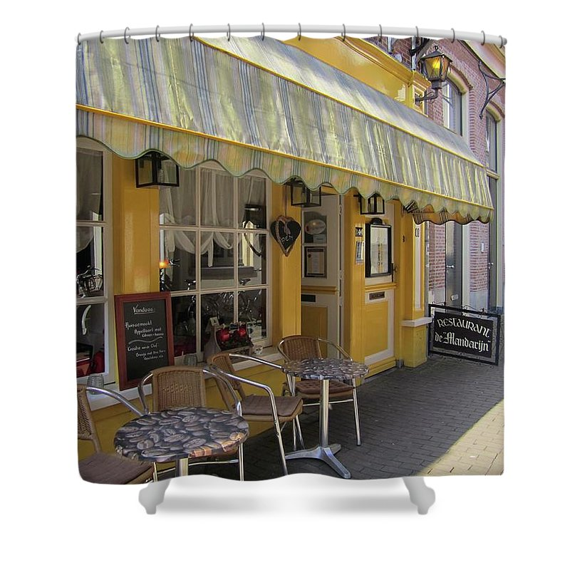 Cafe Shower Curtain featuring the photograph Yellow Cafe by Kat Cortez
