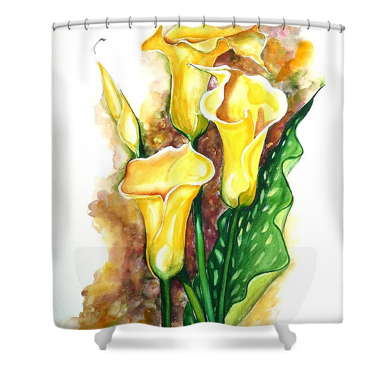 Flower Paintings Floral Paintings `yellow Flower Paintings  Lily Paintings Calla Lily Paintings  Botanical Paintings Greeting Card Paintings Canvas Print Paintings Poster Print Paintings Shower Curtain featuring the painting Yellow Callas by Karin Dawn Kelshall- Best