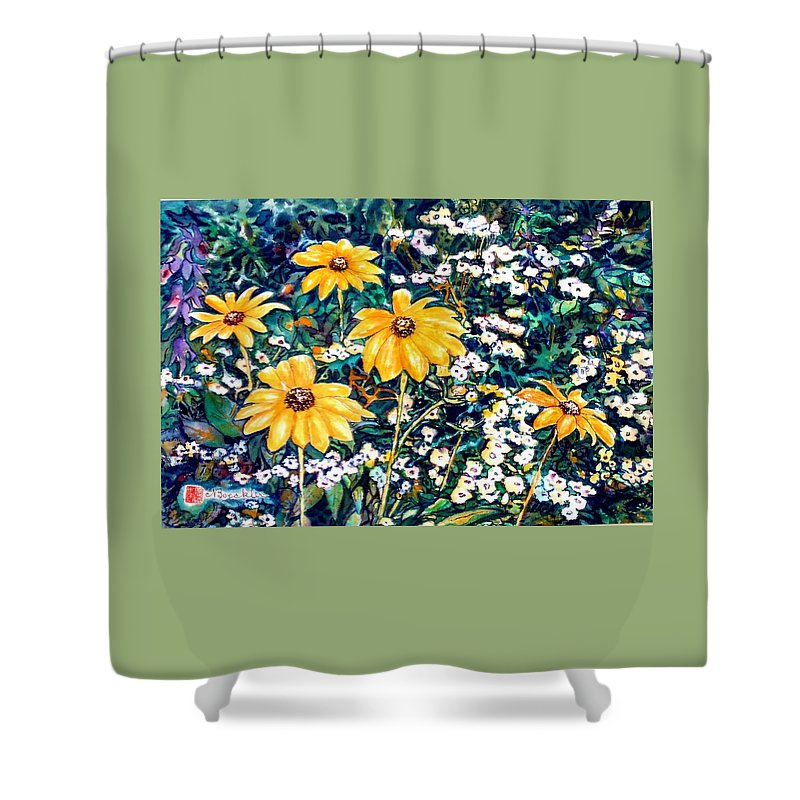 Daisies Shower Curtain featuring the painting Yellow Daisies by Norma Boeckler