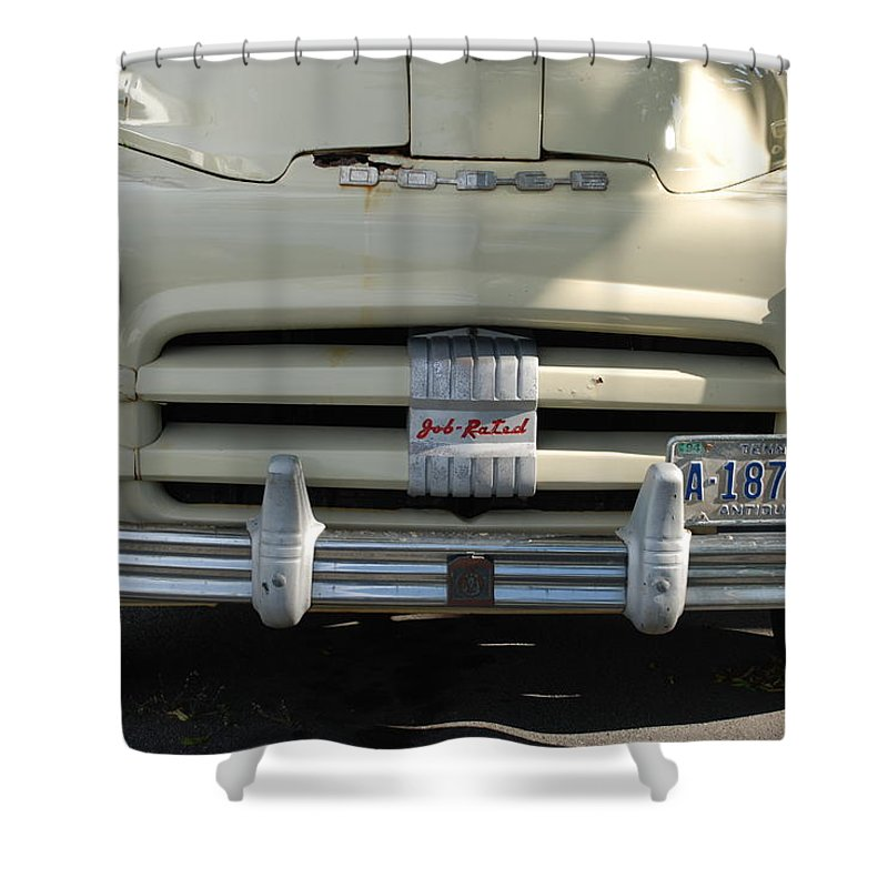 Truck Shower Curtain featuring the photograph Yellow Dodge by Rob Hans