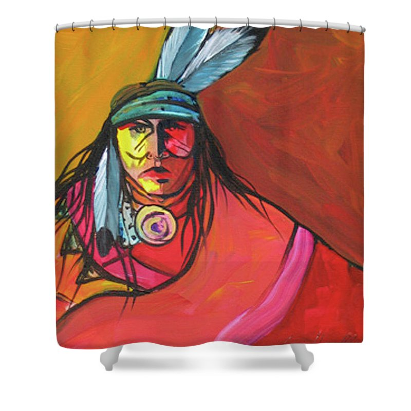 Contemporary Native American Art Shower Curtain featuring the painting Yellow Face by Lance Headlee