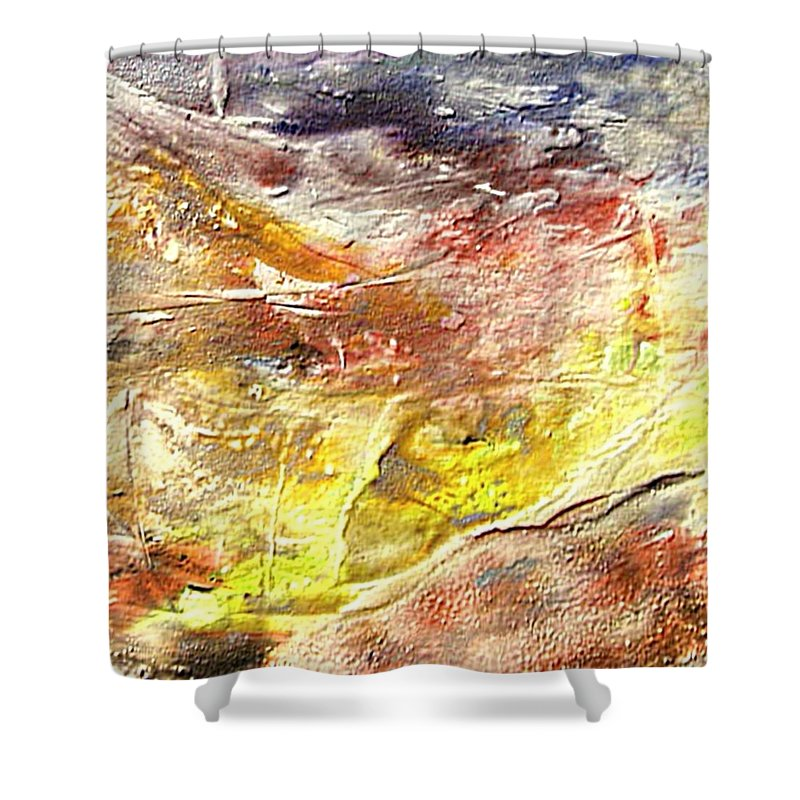 Yellow Field Shower Curtain featuring the painting Yellow Field by Dragica Micki Fortuna