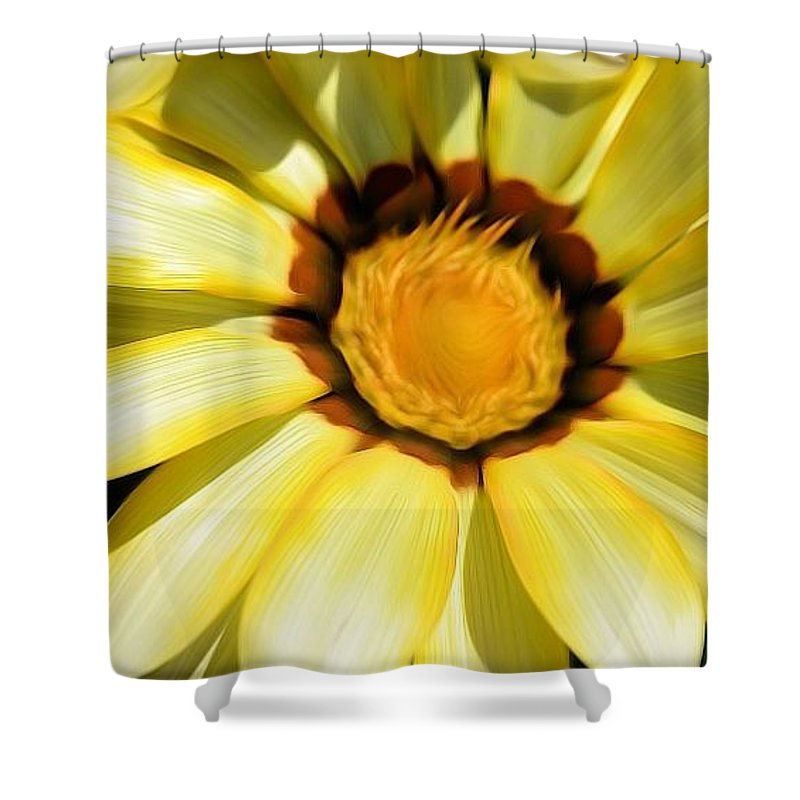 Yellow Shower Curtain featuring the photograph Yellow Flower In The Sun by Susan Jacob