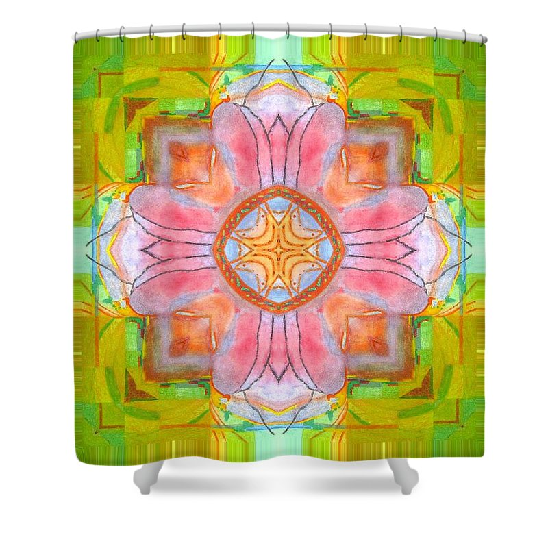 Shower Curtain featuring the digital art Yellow Green Medallion by Jeffrey Todd Moore