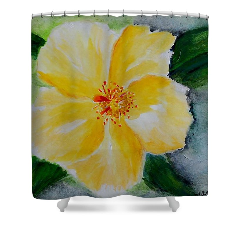 Flower Shower Curtain featuring the painting Yellow Hibiscus by Jamie Frier