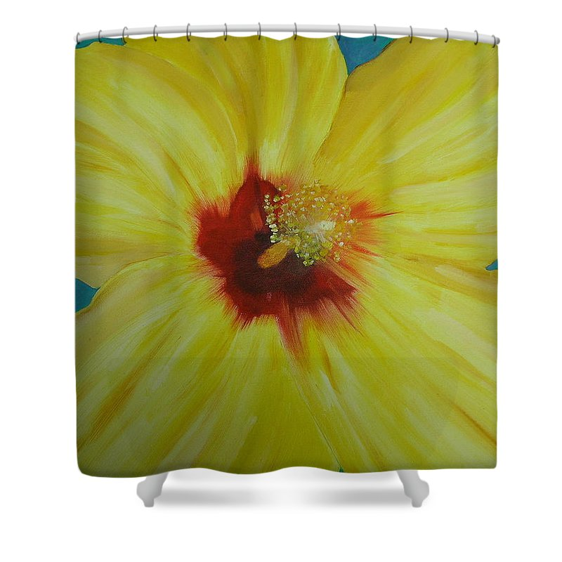 Flower Shower Curtain featuring the print Yellow Hibiscus by Melinda Etzold