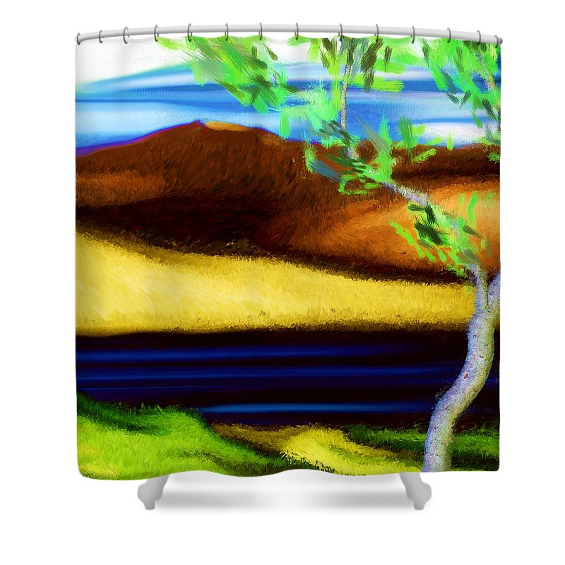 Digital Painting Shower Curtain featuring the digital art Yellow Hills Revisited by David Lane