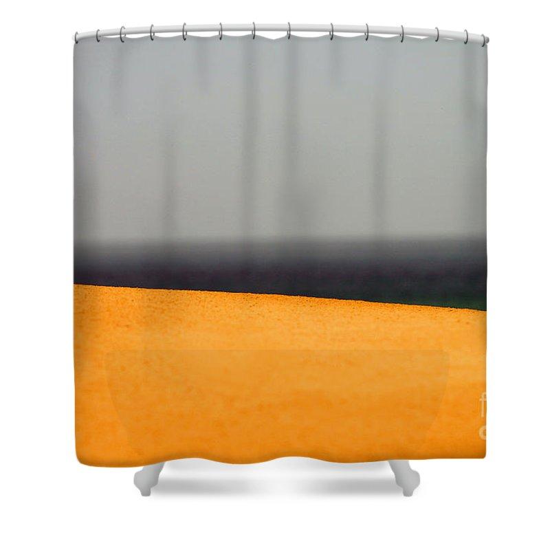 Yellow Shower Curtain featuring the photograph Yellow Horizon by Hana Shalom