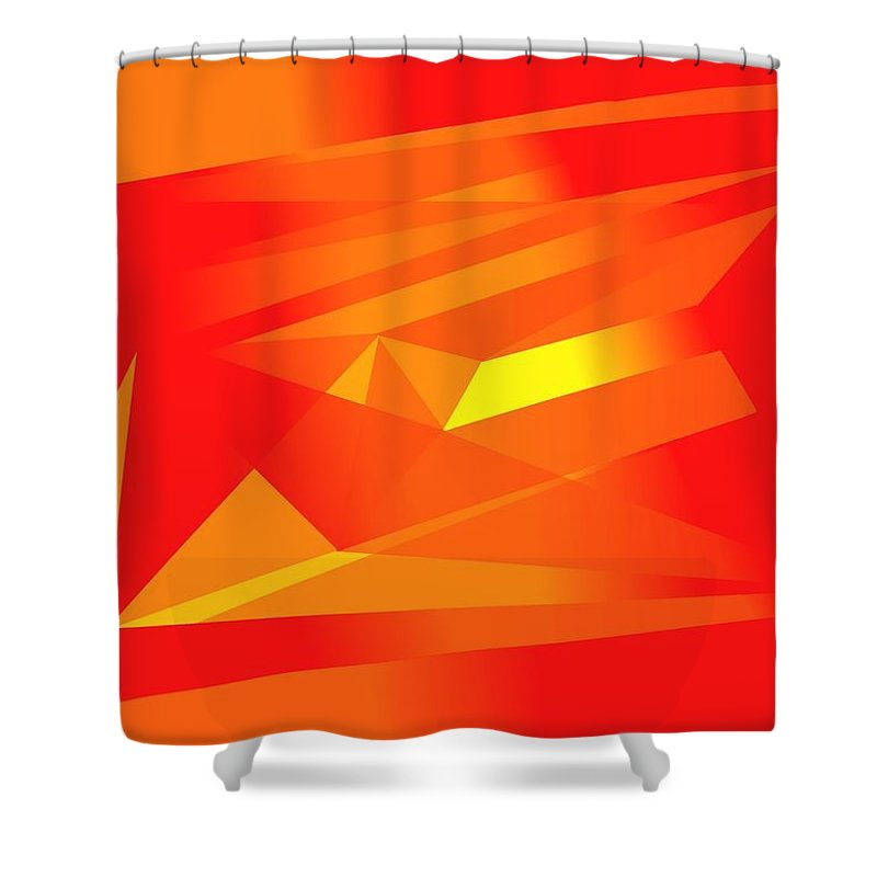 Red Shower Curtain featuring the digital art Yellow In Red by Helmut Rottler
