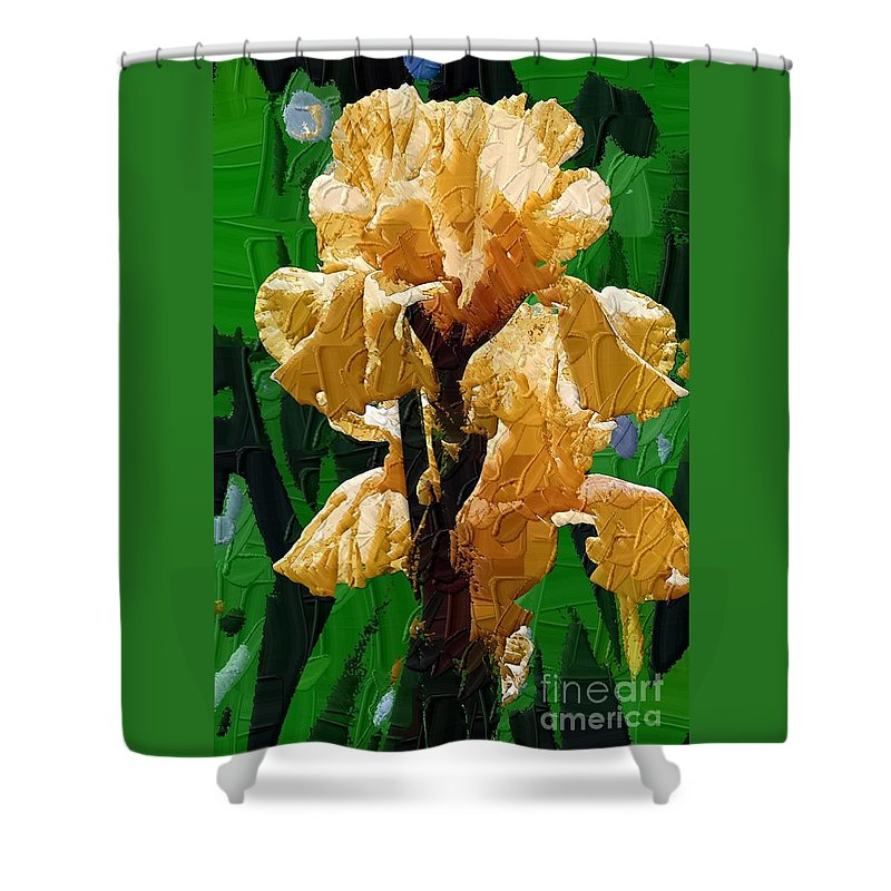 Diane Berry Shower Curtain featuring the painting Yellow Iris by Diane E Berry
