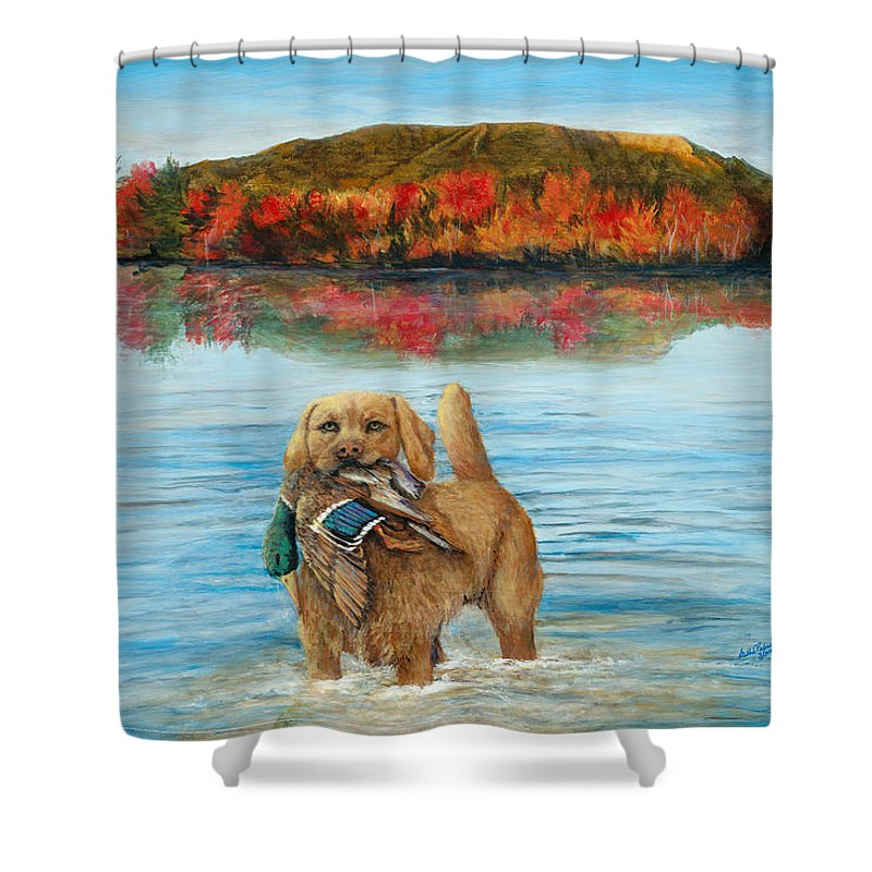Lab Shower Curtain Featuring The Painting Eddies Pride