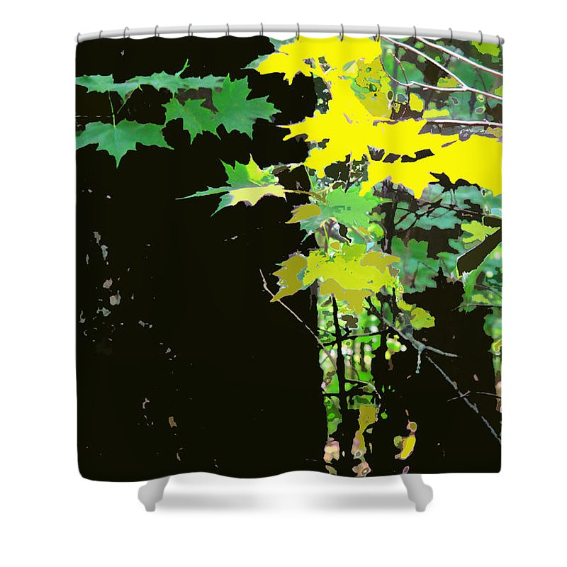 Forest Shower Curtain featuring the digital art Yellow Leaves by Ian MacDonald
