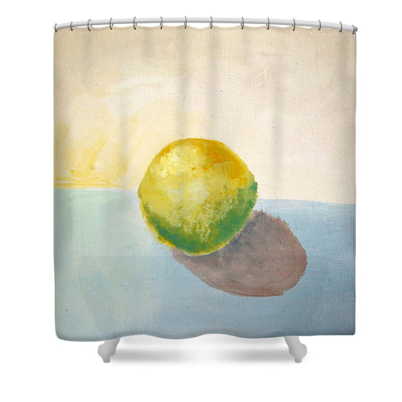 Lemon Shower Curtain featuring the painting Yellow Lemon Still Life by Michelle Calkins