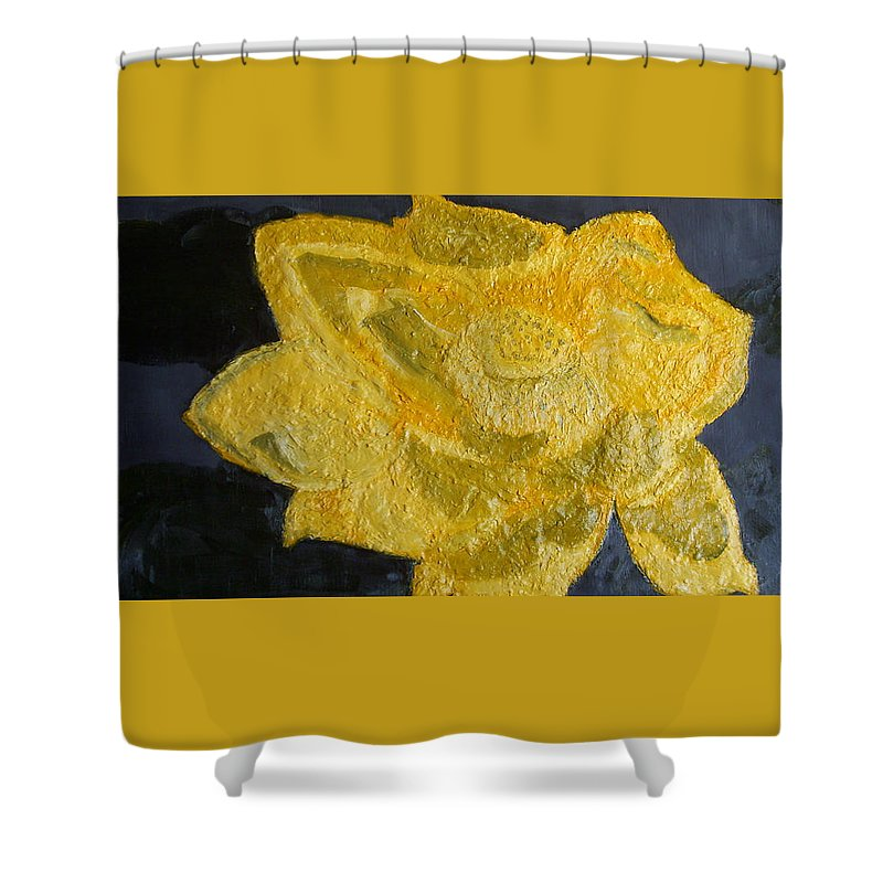 Still Life Paintings Shower Curtain featuring the painting Yellow Lilac On The Pond by Leslye Miller