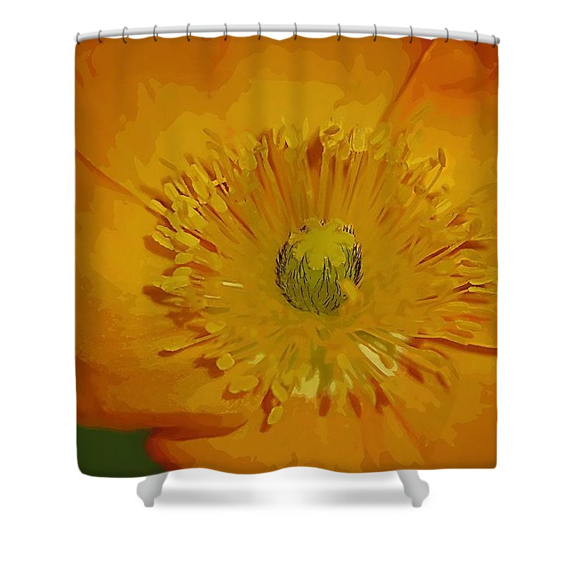 Poppy Shower Curtain featuring the photograph Yellow Poppy by Donna Bentley