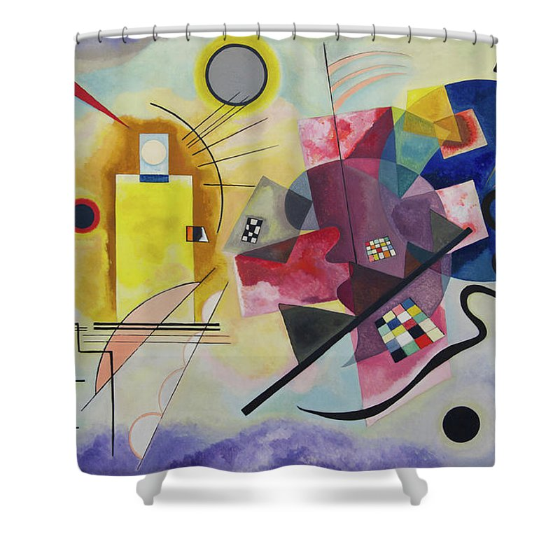Circle Shower Curtain Featuring The Painting Yellow Red Blue By Wassily Kandinsky