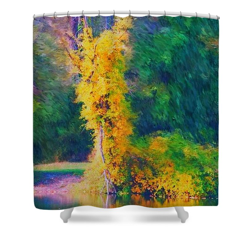 Digital Landscape Shower Curtain featuring the digital art Yellow Reflections by David Lane