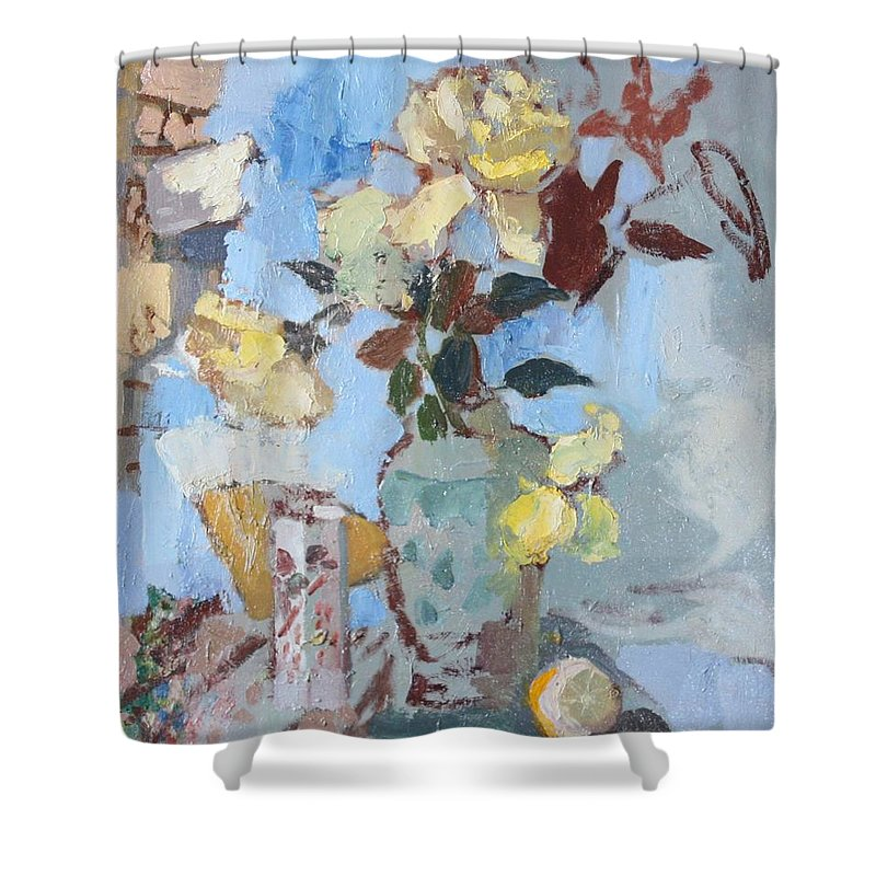Roses Shower Curtain featuring the painting Yellow Roses by Murat Kaboulov
