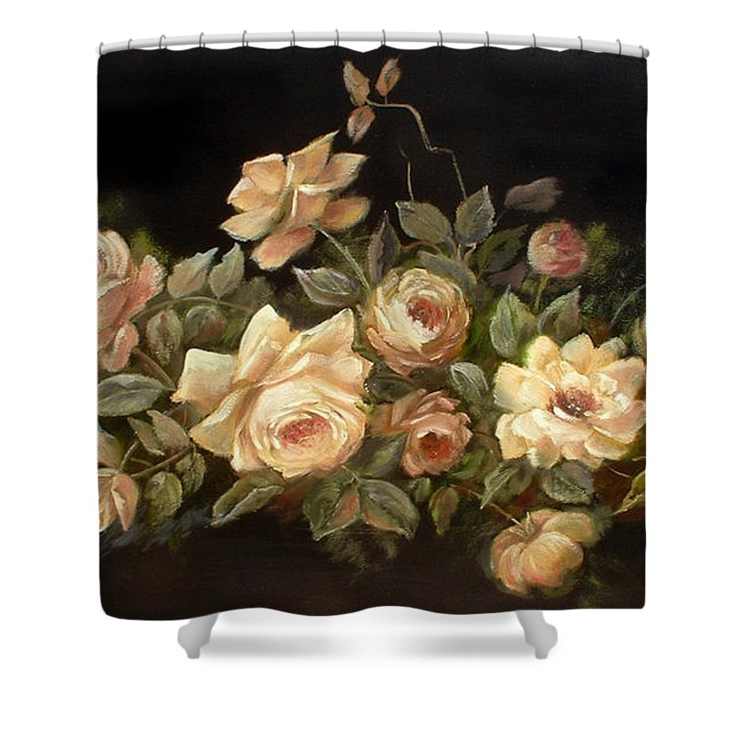 Floral Shower Curtain featuring the painting Yellow Roses On Black by Patricia Rachidi
