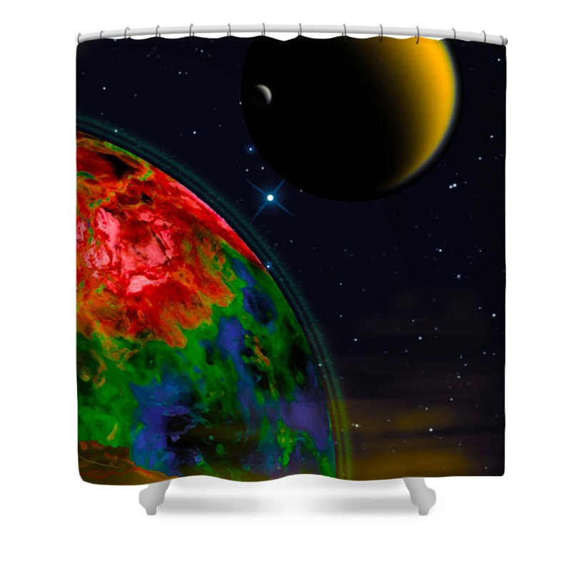 Poster Shower Curtain featuring the digital art Yellow Sea On Kepler 186d by Chuck Mountain