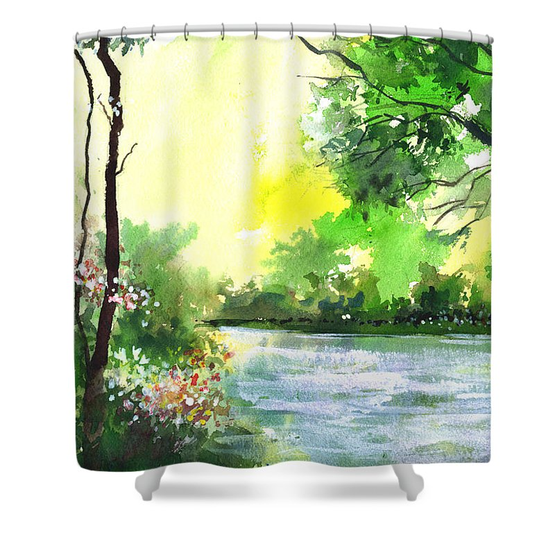 Sky Shower Curtain featuring the painting Yellow Sky by Anil Nene