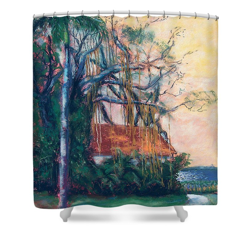 Edison Shower Curtain featuring the painting Yellow Sky At Edison Winter Estate by Laurie Paci