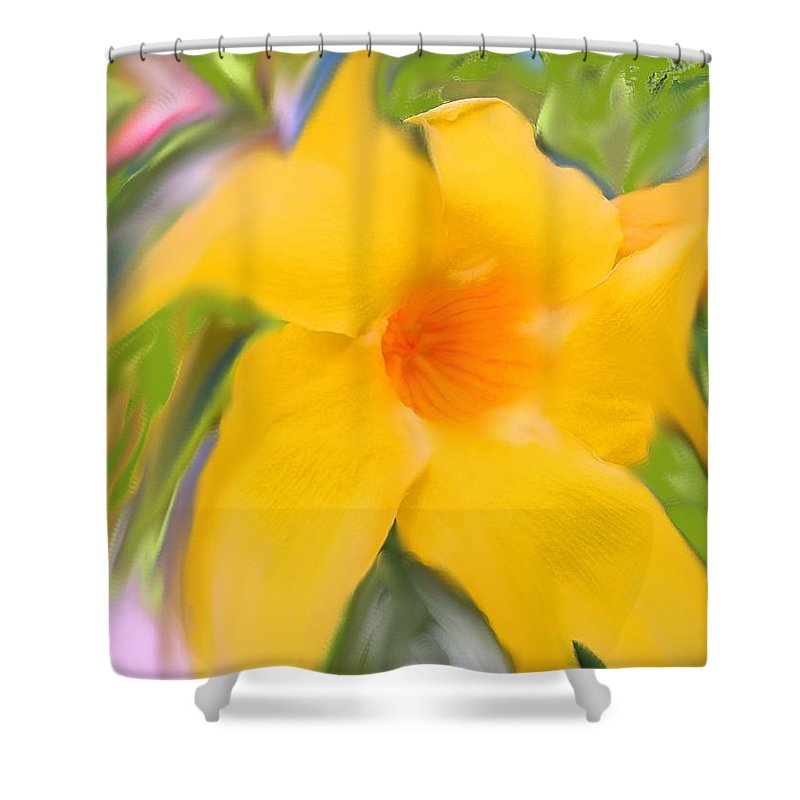 Yellow Shower Curtain featuring the photograph Yellow Stretch by Ian MacDonald
