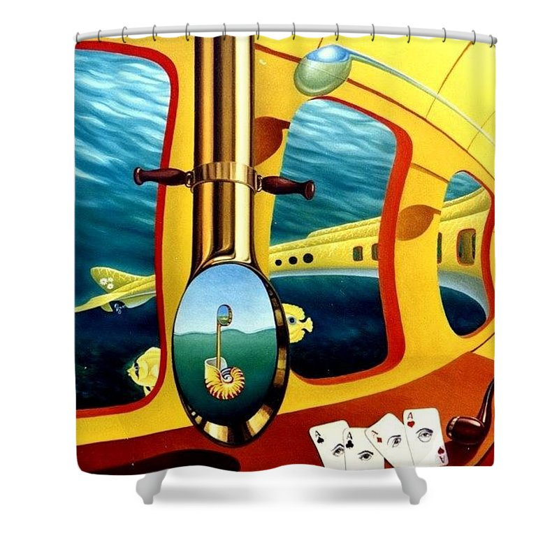 Art Oil Painting Canvas Yellow Submarine Nautilus Trompet Corn Music Shower Curtain featuring the painting Yellow Submarine by Gyuri Lohmuller
