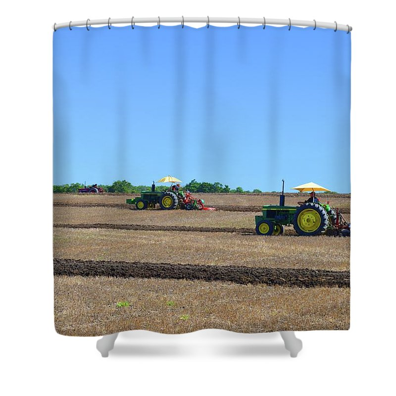 Farm Shower Curtain featuring the photograph Yellow Sunshades by Lyle Crump