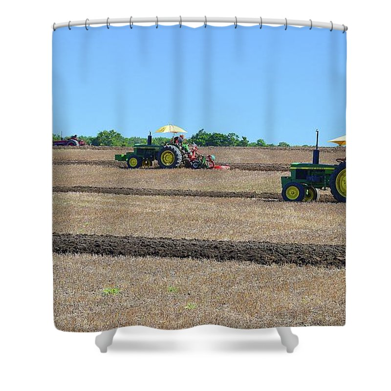 Farm Shower Curtain featuring the photograph Yellow Sunshades Two by Lyle Crump