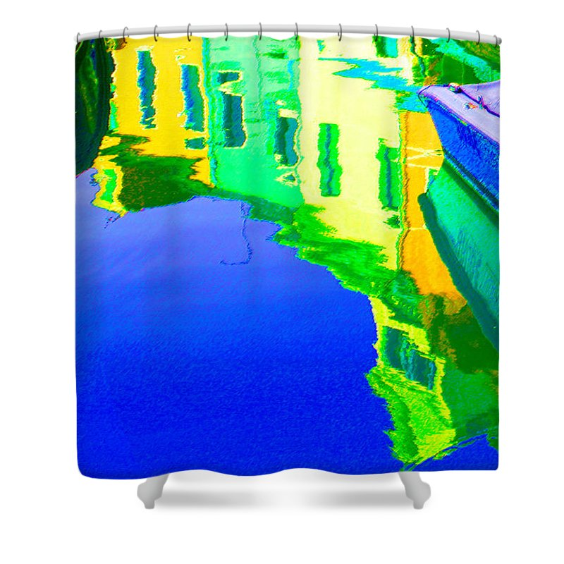 Yellow Shower Curtain featuring the digital art Yellow Toned Reflections by Donna Corless