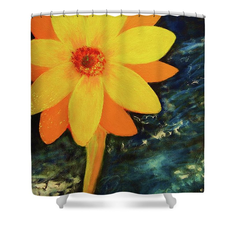 Yellow Shower Curtain featuring the painting Yellow Treat by John Scates