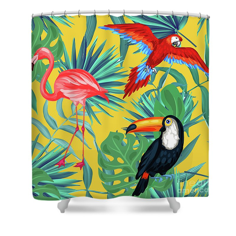 Parrot Shower Curtain featuring the digital art Yellow Tropic by Mark Ashkenazi