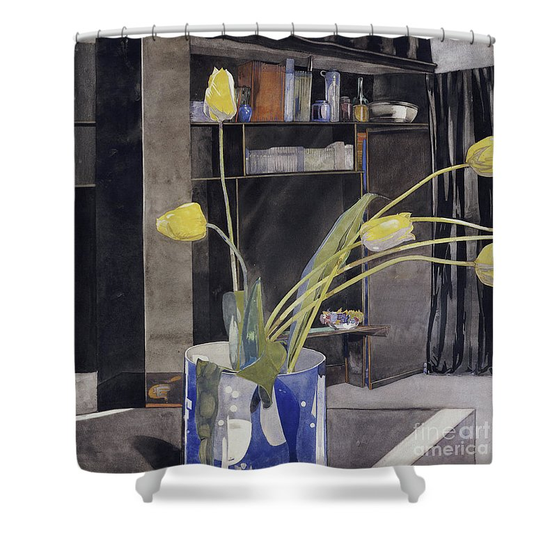 Yellow Tulips Shower Curtain featuring the painting Yellow Tulips By Charles Rennie Mackintosh by Charles Rennie Mackintosh