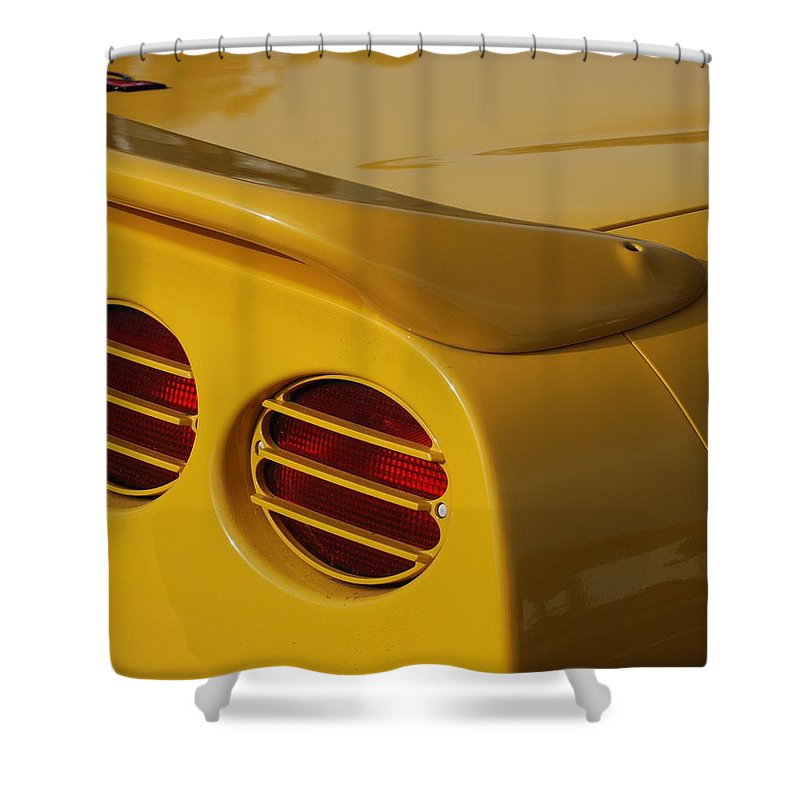 Corvette Shower Curtain featuring the photograph Yellow Vette Lights by Rob Hans