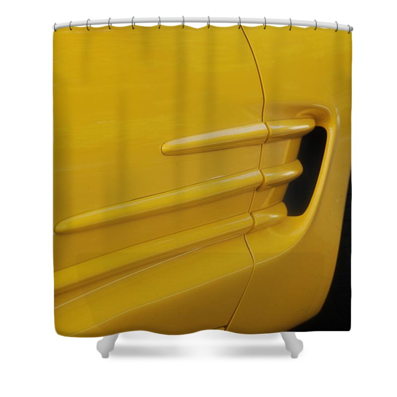 Corvette Shower Curtain featuring the photograph Yellow Vette by Rob Hans