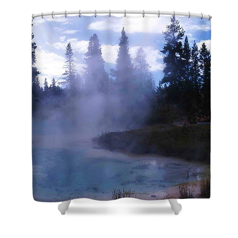 Yellowstone Shower Curtain featuring the photograph Yellowstone Haze by Nelson Strong