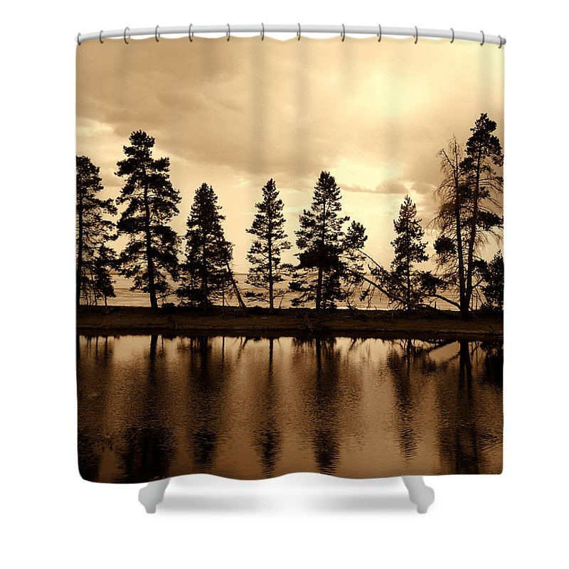 Photography Shower Curtain featuring the photograph Yellowstone Lake by Susanne Van Hulst