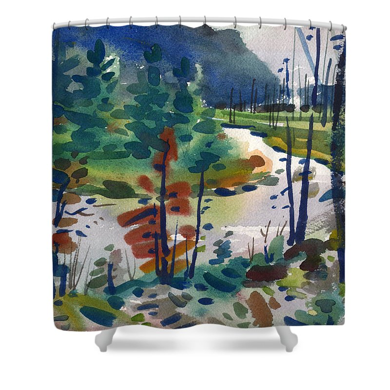 Yellowstone River Shower Curtain featuring the painting Yellowstone River by Donald Maier