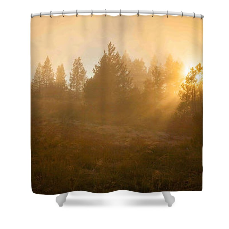 Yellowstone Shower Curtain featuring the photograph Yellowstone Sunset by Paul Kukuk