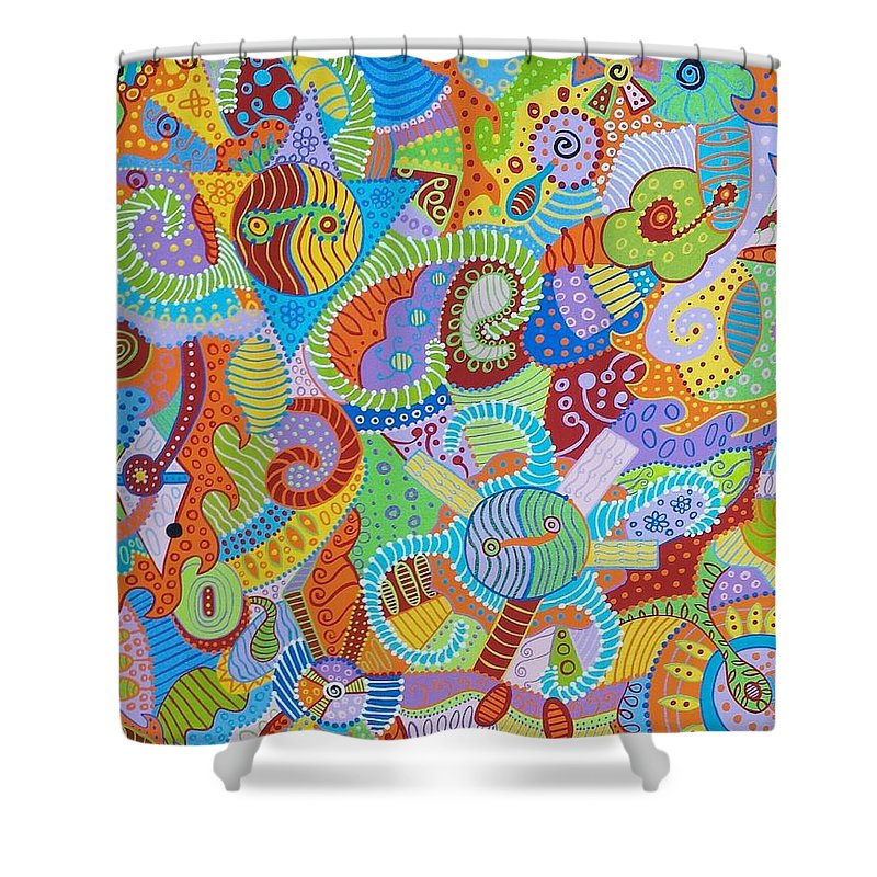 Absract Shower Curtain featuring the painting Yin And Yang 6 by Erika Avery