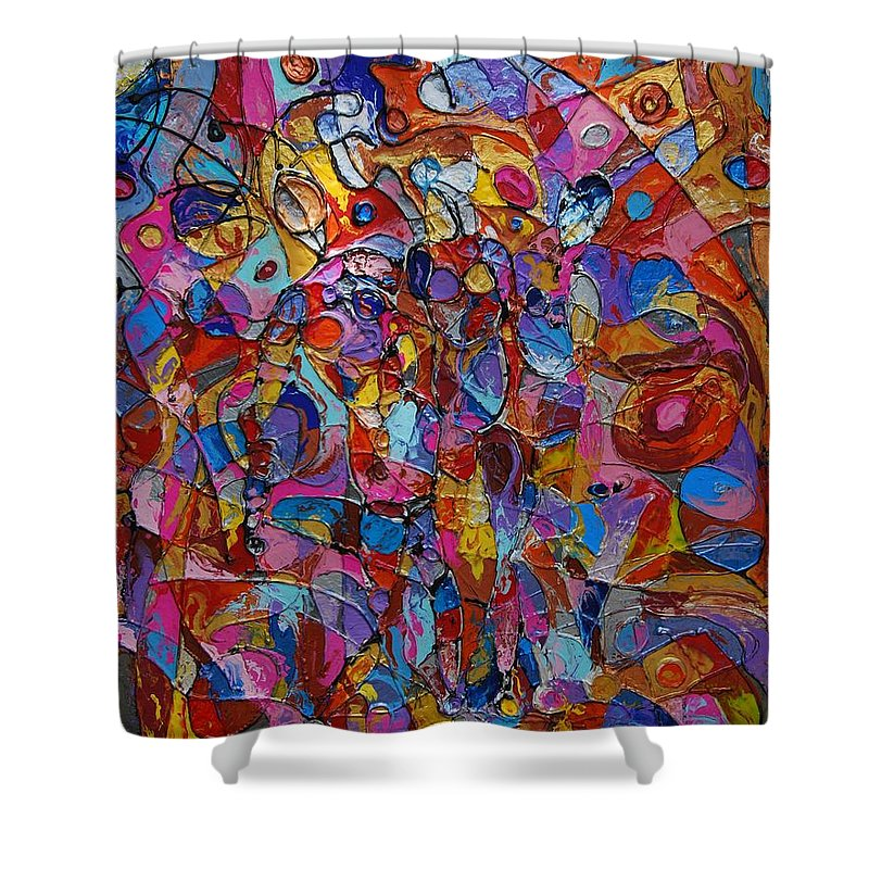 Abstract Shower Curtain featuring the painting Yin Yang by Erika Avery