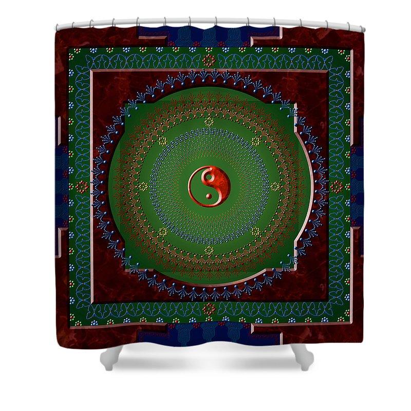 Mandala Shower Curtain featuring the digital art Yin Yang by Stephen Lucas
