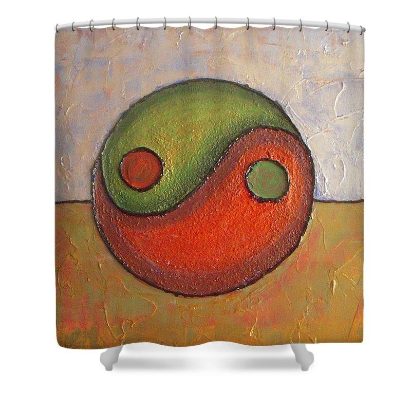 Yin-yang Shower Curtain featuring the painting Yin - Yang by Vesna Antic