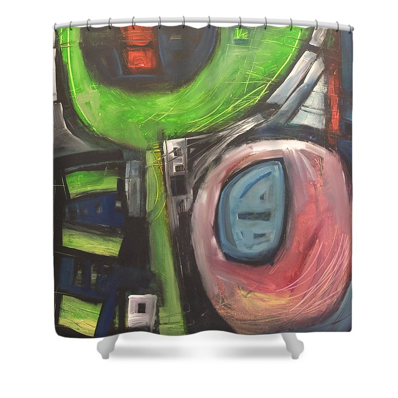 Abstract Shower Curtain featuring the painting YO by Tim Nyberg