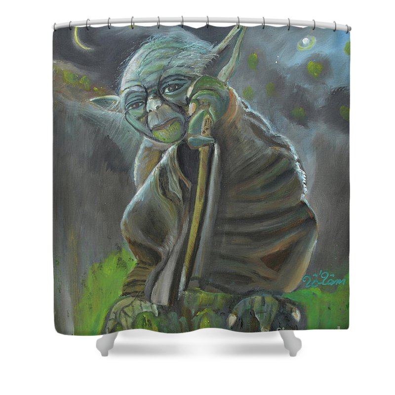 Yoda Shower Curtain featuring the painting Yoda In Starry Night by To-Tam Gerwe