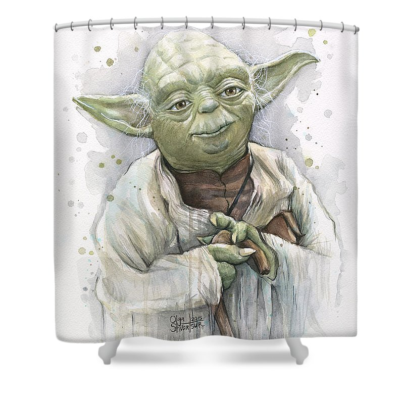 Yoda Shower Curtain featuring the painting Yoda by Olga Shvartsur