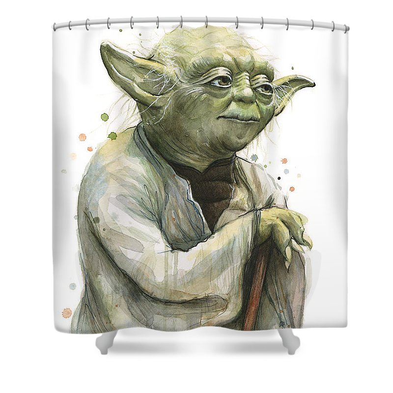 Yoda Shower Curtain featuring the painting Yoda Watercolor by Olga Shvartsur