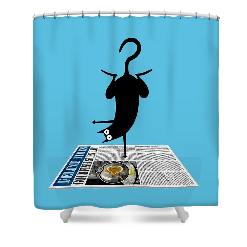 Yoga Shower Curtain featuring the drawing Yoga Mat by Andrew Hitchen